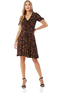 23edbb941bf4 Roman Originals Women Ditsy Floral Print Tea Dress - Ladies V-Neckline  Short Sleeve Knee Length…
