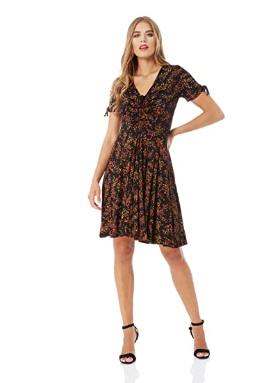8b34965cbb Roman Originals Women Ditsy Floral Print Tea Dress - Ladies V-Neckline  Short Sleeve Knee Length Skater Daytime Evening Occasion Smart Fashionable  Apparel ...