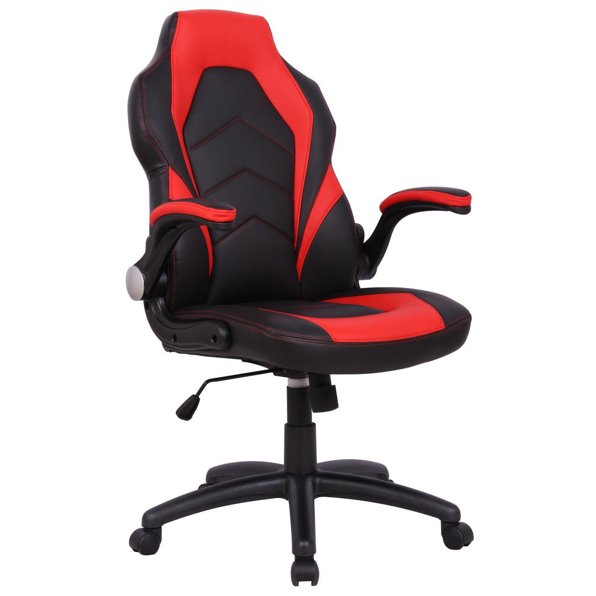 Giantex Gaming Chair Racing Chair High Back Swivel Adjustable Ergonomic Executive Gaming Desk Office Chair with Bucket Seat (Red)
