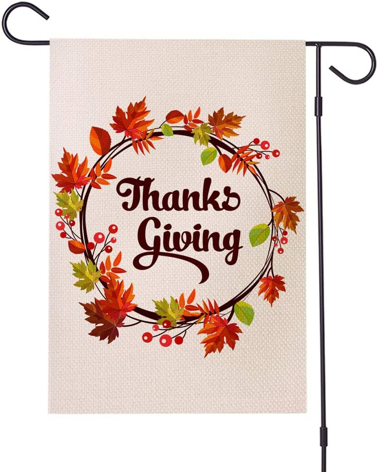Fall Thanksgiving Garden Flag, Vertical Double Sided Farmhouse Autumn Thankful Burlap Yard Outdoor Give Thanks Leaf Decor 12.5 x 18 Inches