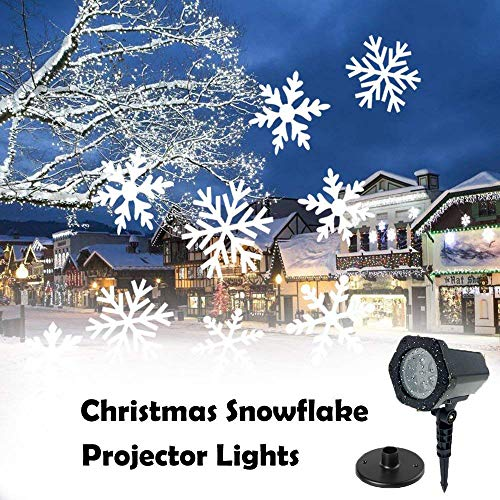 LED Snowflakes Projector Light Moving White Landscape Spotlight