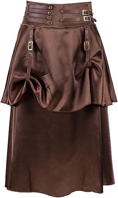 ZAMME Faldas de Steampunk góticas Vintage de Las Mujeres para el ...