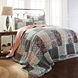 Amrapur Overseas | Sylvia 100% Cotton 3-Piece Printed Reversible Quilt Set (Salmon/Aqua, King)