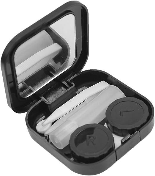 Pinzhi Barba Estuche Caja Lentes de Contacto Porta Lentillas con Espejo (negro): Amazon.es: Juguetes y juegos