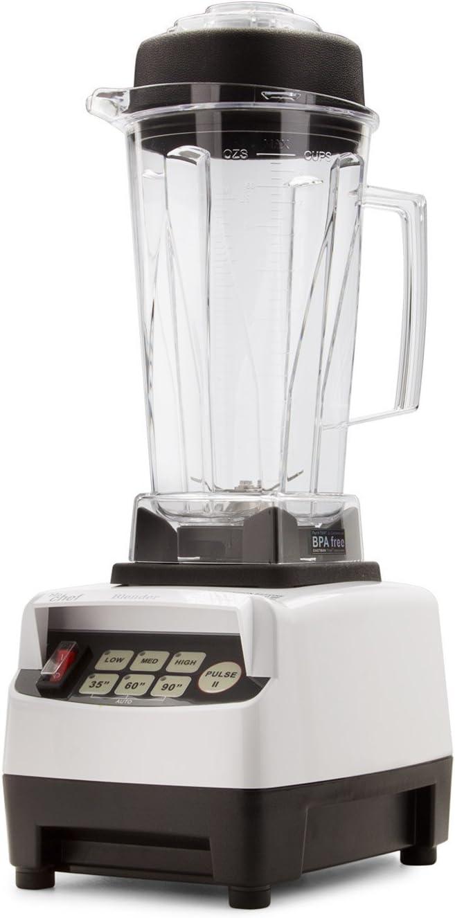 BioChef High Performance Blender – Batidora de vaso profesional 2L, 1600W, bajo consumo, sin BPA. (Blanco)