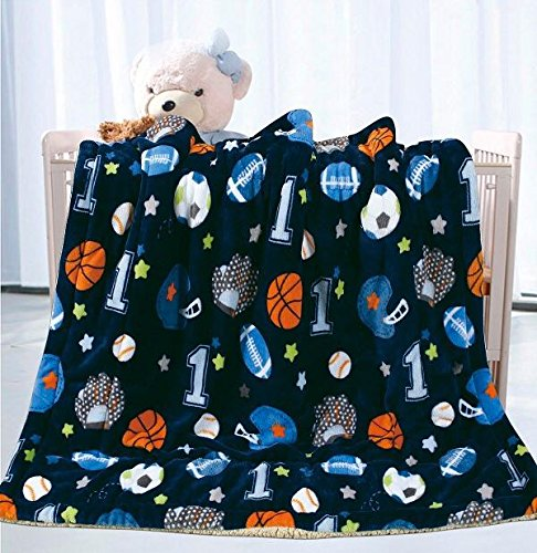 Sports Throw - Elegant Home Kids Soft & Warm Sherpa Baby Toddler Boy Sherpa Blanket Navy Blue Sports Basketball Soccer Baseball Football Multicolor Printed Borrego Stroller or Toddler Bed Blanket Plush Throw 40X50