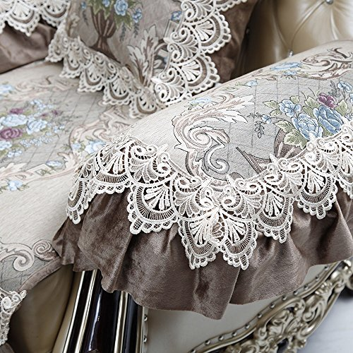 "Sideli European Sofa Protector Non-Slip Sofa Pad Fabric Lace Sofa Cover Sold by Piece Rather Than Set New Arrive Custom Size Accept (2pcs arm cover- 20""x24"", Beige+Coffee) Check Armless Lounge Chair"