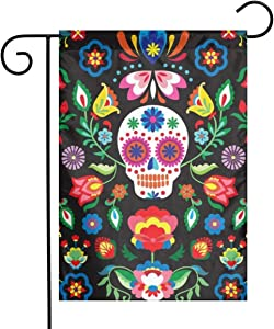 Mexican Sugar Skull 12 X 18 Inch Double Sided Small Flag Yard Outdoor Decoration