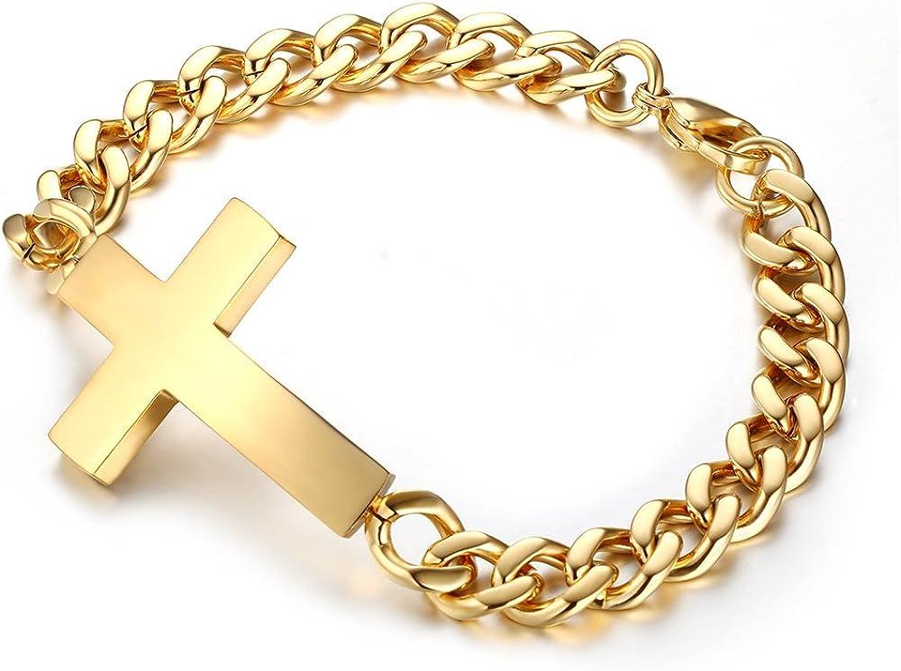 XUANPAI Personalized Custom Stainless Steel Sideway Cross Link Bracelet,Religions Personalized Gift