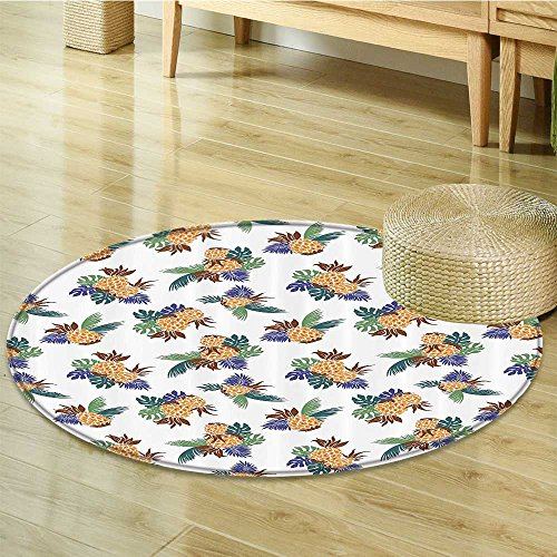 Nalahomeqq Pineapple Decor Collection Colorful Pineapple with Leaves Pattern Hawaii Rainforest Tropics Holidays Art Print Polyester Fabric Room Circle carpet non-slip Green Orange-Diameter 180cm(71'') by Nalahomeqq