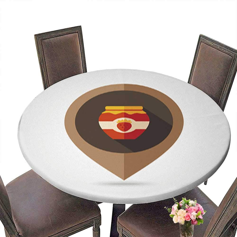 100% Polyester Luxury Round Tablecloth,Strawberry jam jar Flat Mapping pin icon Resistant and Waterproof Tablecloths up to 31.5''-33.5'' Diameter