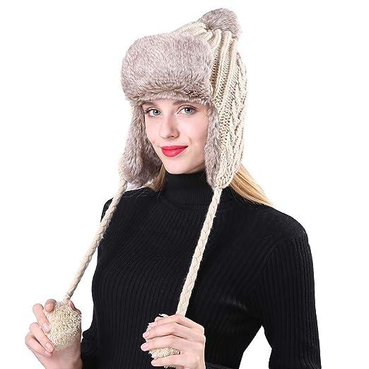 bc4ccae32744b4 Amazon.com: RF Winter Warm Knit Hat, Fleece Earflap Hood for Unisex ...