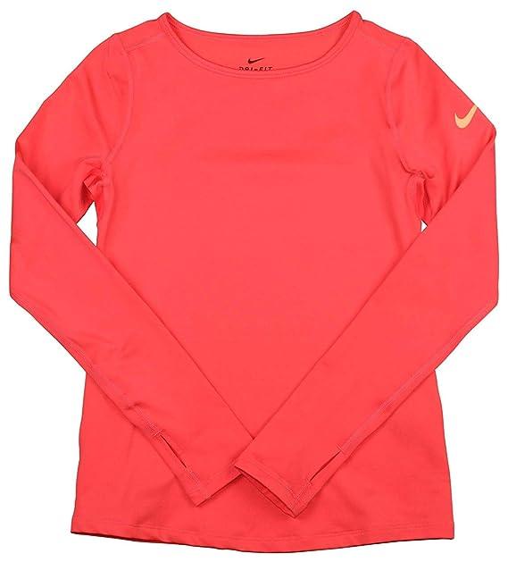 1178b666 Nike Girl's Dri-Fit Pro Warm Long Sleeve Training Shirt Orange 915369 850 (l