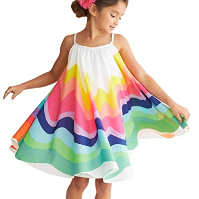 Euone Summer Toddler Baby Girls Sleeveless Rainbow Print Dress Vest Dresses Clothes: Clothing
