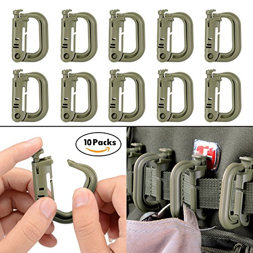 10 Pack Multipurpose D-Ring Grimloc Locking for Molle Webbing with Zippered Pouch by BOOSTEADY