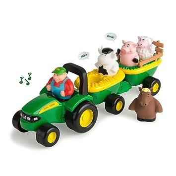 Amazon Com Tomy John Deere Animal Sounds Hayride Preschool Toy
