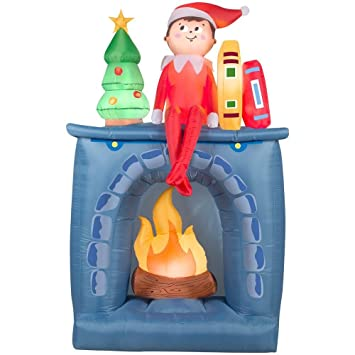 h inflatable scout elf on fireplace christmas decoration - Fireplace Christmas Decorations Amazon