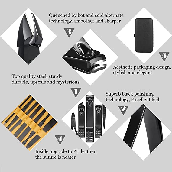 Set de 15 piezas para el cuidado de las uñas; para viajes y uso doméstico; contiene cortauñas, quitacutículas, cuchilla, etc.: Amazon.es: Belleza
