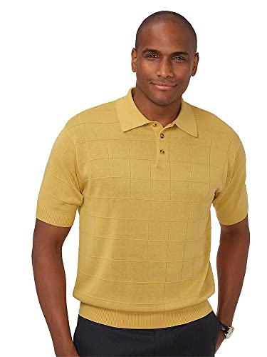 Vintage Shirts – Mens – Retro Shirts Paul Fredrick Mens Silk Grid Polo Collar Sweater $22.98 AT vintagedancer.com