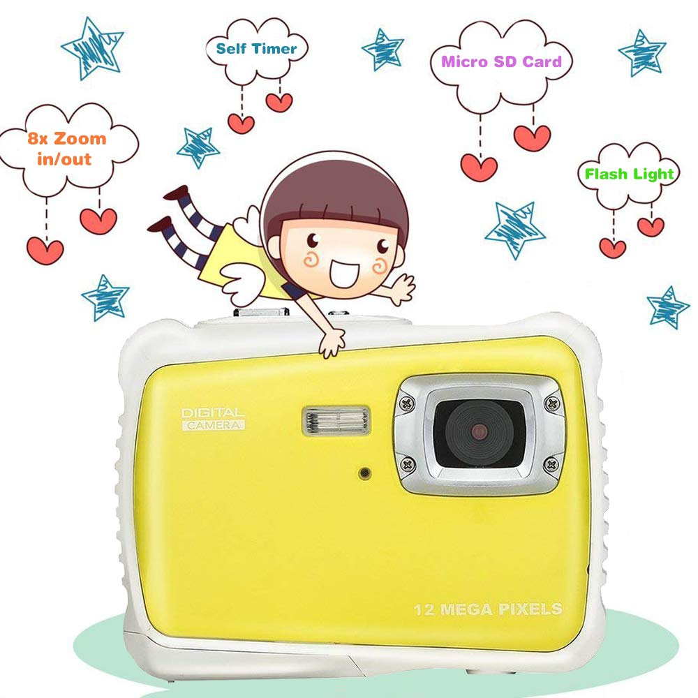 Kids Waterproof Camera Digital Camera for 4-10 Years Old Children, 12MP HD Underwater Action Camera Camcorder with 8X Digital Zoom, 2.0 Inch LCD Display, 16G Micro SD Card – Easy to Use (Yellow) by tesha (Image #3)