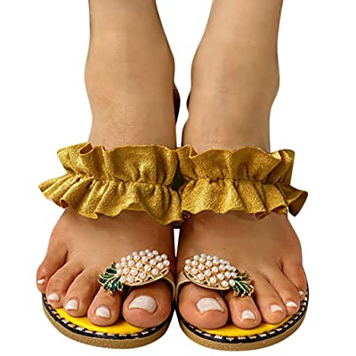 Hosamtel Sandals for Women Wide Width, Fashion Pearl Flats Bohemian Flip Flops Casual Slippers Beach Shoes: Clothing