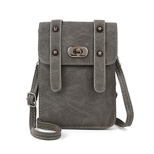1ef26a2bfb33 Amazon.com: JBRBOOM Leather Smartphone Mini Shoulder Bag Crossbody Purse  Cell Phone Pouch Wallet Grey: Home & Kitchen