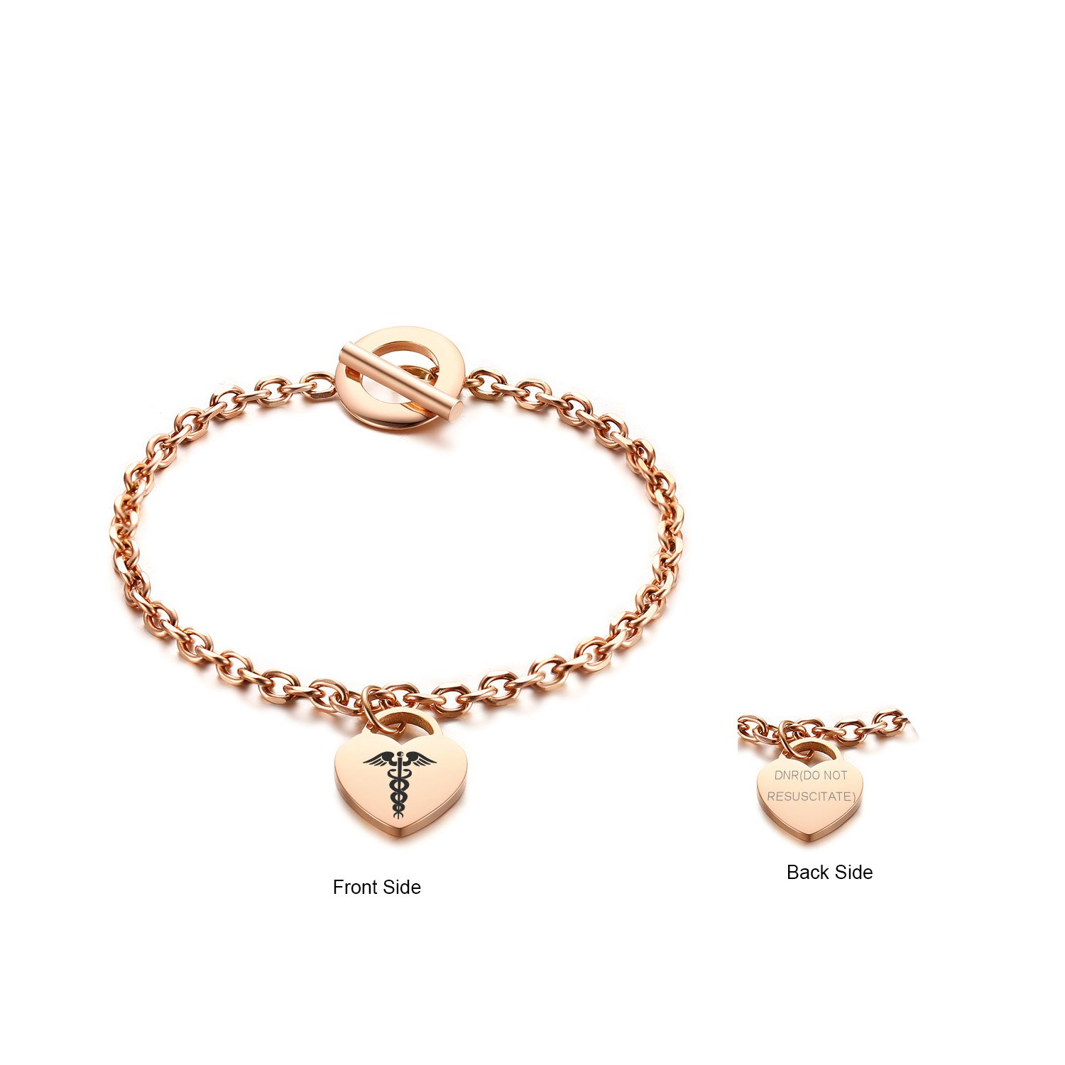 VNOX Free Engraving -Medical Caduceus Rose Gold Plated Stainless Steel Heart Drop Toggle Clasp Bracelet,7.5