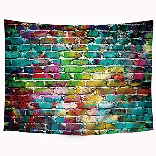 (Riyidecor Wowzone Graffiti Colorful Brick Tapestry 80x60 Inch Hip Hop Painting Tapestry Colorful Street Tapestry Artistic Wall Hanging Bedding Wall Art Decor Bathroom Fabric Home Dorm Living Room)