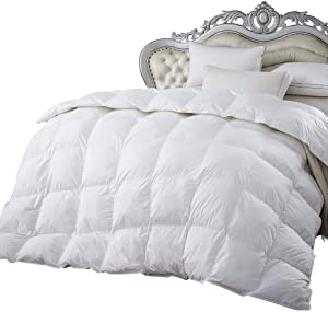 Luxurious 1200 Thread Count Full/Queen Size Siberian Goose Down Comforter 100% Egyptian Cotton 1200 TC - Baffle Box Design - 750FP - 50Oz - Solid White