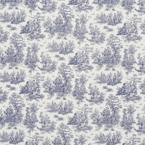 Dark Blue and White Toile Print Upholstery Fabric by the yard