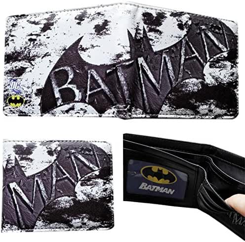 DC Comics Batman Black an White Bi-fold Men's/Boys Wallet with Gift Box