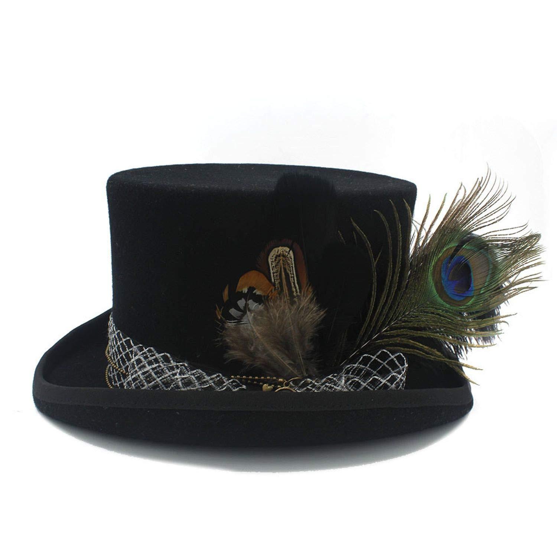 KKONION Fedora Hats Unisex Handwork Black Wool for Magician Party Wedding Hat 17CM 4 Size
