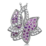 NINASUN S925 Sterling Silver Necklace Violet Butterfuly Animal Design CZ Pendant Fine Jewelry for Women Birthday Gifts for Her Daughter Sister Gifts for Mom Grandma Graduation Gift for Teen Girls