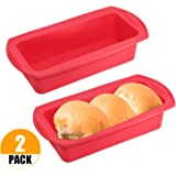 Luxtrip 2 pack Silicone Bread Loaf Pan Silicone Bread and Loaf Pan Set of 2 Red Non-Stick Silicone Baking Mold Easy release and baking mold for Homemade Cakes, Breads, Meatloaf and quiche