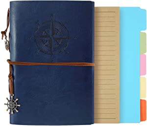 Leather Journal, A6 Refillable Notebook Vintage Spiral Bound Notepad Diary Travel Journal to Write in for Women Girls with Lined Pages (A6, Deep Blue)