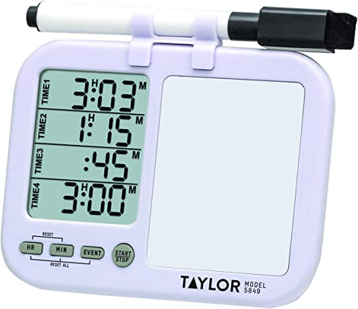 Taylor Precision Products 5849 Four-Event Kitchen Timer with Whiteboard  (Regular), white