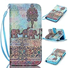 iPhone SE Case,iPhone 5S Case, iPhone 5 Case, Kmety Gray Elephant [ Wristlet ][ Kickstand ] PU Leather Clutch Pouch Wallet [Credit Card/Cash Slots] Flip Cover for iPhone SE/5/5S