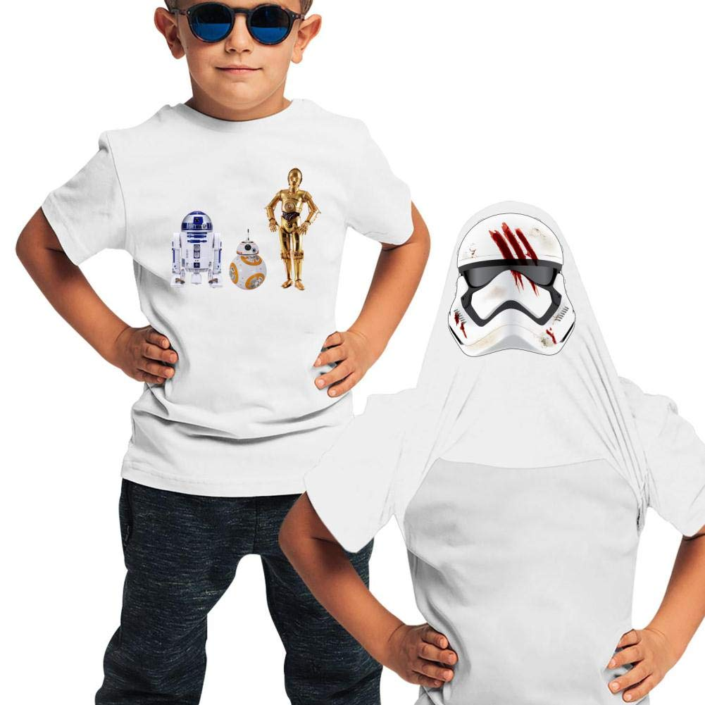 KAWDIS R2D-2 Basic Daily Wear Cotton Graphic Double Sided T Shirts for Girls and Boys
