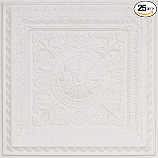 White Mate 25 From Plain To Beautiful In Hours 223wm-24x24-25 La Scala Ceiling Tile