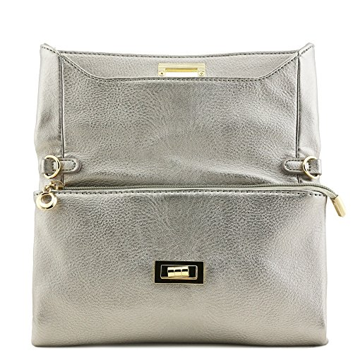 Crossbody Turnlock Light Envelope Compartment Bag Clutch Pewter Double 1I5Uzqw