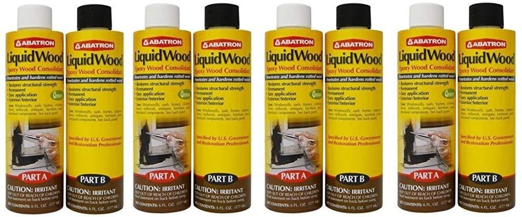 Abatron LiquidWood Kit Epoxy Wood Consolidant 6 oz each, Part A & B (Fоur Paсk) by Abatron (Image #1)