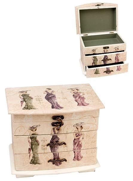 Sophia Vintage Shabby Chic Jewellery Box Ladies Three Drawer