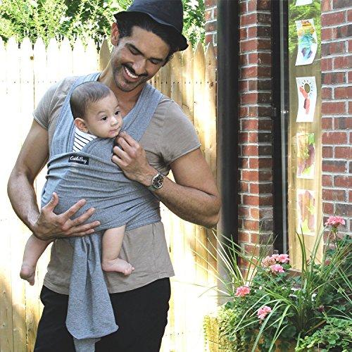 Baby Wrap Ergo Carrier Sling - by CuddleBug - Available in 8 Colors - Baby Sling, Baby Wrap Carrier, Nursing Cover - Specialized Baby Slings and Wraps for Infants and Newborn (Grey) by CuddleBug (Image #5)