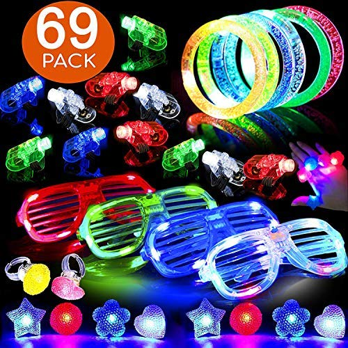 60 PCS Glow in the Dark Party Supplies Glow Sticks Glow Necklaces Bracelets LED Party Favor for Kids Teens Adults 2019 Light Up Toys with 50 Glow Sticks 5 Flashing Glasses 5 LED Flower Wreath
