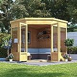 BillyOh 7x7 Picton Tongue & Groove Wooden Garden Summerhouse Corner Pent Roof & Felt