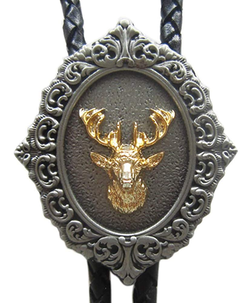 Vintage Original Western 3D Deer Wedding Bolo Tie Leather Necklace