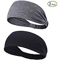 YOUBAMI Sport Athletic Headband for Yoga Running Sports Travel (2 Pack), Elastic Wicking Workout Non Slip Lightweight…