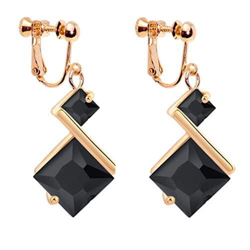 Party Black and Gold Dangle Earrings