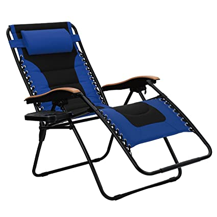 Astounding Phi Villa Oversize Xl Padded Zero Gravity Lounge Chair Wider Armrest Adjustable Recliner With Cup Holder Support 350 Lbs Blue Machost Co Dining Chair Design Ideas Machostcouk