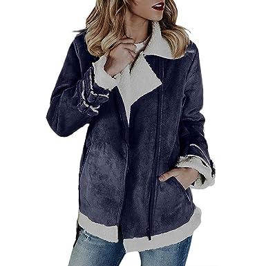 MEIbax Abrigos Mujer Invierno Mujeres Faux Suede Warm Jacket Zipper Up Front Coat Outwear con Bolsillos: Amazon.es: Ropa y accesorios
